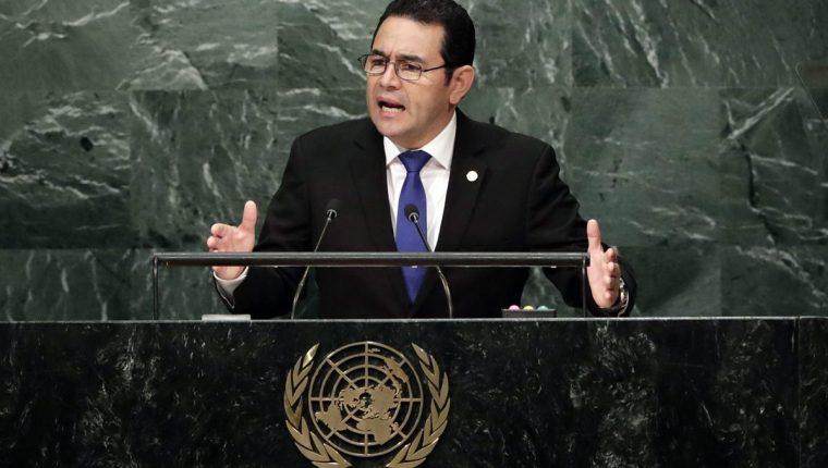 El presidente Jimmy Morales, durante su intervención en la Asamblea General de ONU en 2016. (Foto Prensa Libre: Hemeroteca PL)