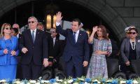 Jafeth Cabrera, vice presidente, Jimmy Morales, presidente, Patricia de Marroquin, observa, el desfile en la celebraci—n del 198 a–os de Independencia.   Fotograf'a. Erick Avila:             15092019