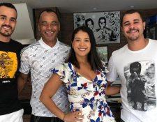 Una foto familiar de Cafú junto a sus hijos, Danilo es el último de izquierda a derecha. (Foto Prensa Libre: Twitter @BrennoBeretta)