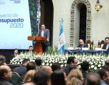 Jimmy Morales en su discurso durante la presentación del Presupuesto 2020. (Foto Prensa Libre: Gobierno de Guatemala)