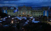 Vista de la restaurada fachada del Palacio Nacional de la Cultura. (Foto Prensa Libre: Óscar Rivas)