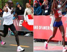 Eliud Kipchoge y Brigid Kosgei superaron récords mundiales sobre unas Nike Vaporfly.