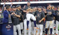 HOUSTON, TEXAS - OCTOBER 19: Jose Altuve #27 of the Houston Astros is awarded series MVP following his teams 6-4 win against the New York Yankees in game six of the American League Championship Series at Minute Maid Park on October 19, 2019 in Houston, Texas.   Elsa/Getty Images/AFP == FOR NEWSPAPERS, INTERNET, TELCOS & TELEVISION USE ONLY ==