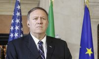 Rome (Italy), 02/10/2019.- US Secretary of State Mike Pompeo speaks during a joint press conference with Italy's Foreign Minister Luigi Di Maio (not pictured) following their meeting at Villa Madama in Rome, Italy, 02 October 2019. Pompeo is in Italy for the first leg of his trip to Europe from 01 to 06 October 2019. (Italia, Estados Unidos, Roma) EFE/EPA/Fabio Frustaci