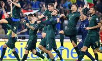 Rome (Italy), 12/10/2019.- Italian players celebrate their win after the UEFA EURO 2020 group J qualifying soccer match between Italy and Greece at the Olimpico Stadium in Rome, Italy, 12 October 2019. (Grecia, Italia, Roma) EFE/EPA/ETTORE FERRARI