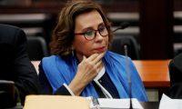 Sandra Torres durante una de las audiencias en tribunales. (Foto Prensa LIbre: EFE)