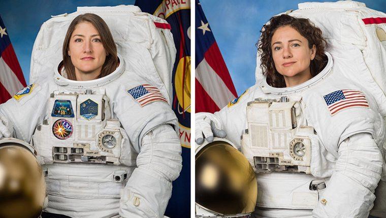 Christina Koch y Jessica Meir realizan primera caminata espacial. (Foto Prensa Libre: EFE)