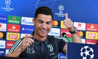 Torino (Italy), 21/10/2019.- Juventus Cristiano Ronaldo reacts during the press conference on the eve of the UEFA Champions League match against Lokomotiv Mosca at Allianz stadium in Turin, Italy, 21 October 2019. (Liga de Campeones, Italia) EFE/EPA/ALESSANDRO DI MARCO
