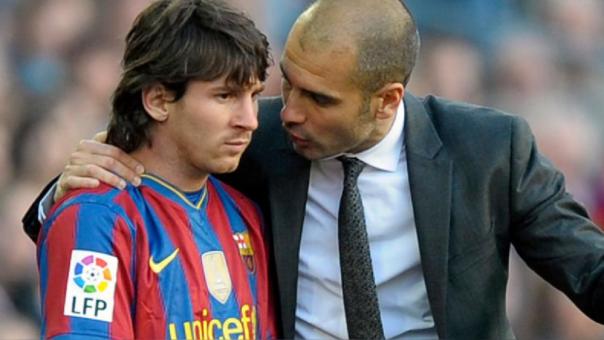 El técnico Pep Guardiola en su etapa junto a Lionel Messi en el Barcelona. (Foto Prensa Libre: Hemeroteca PL)
