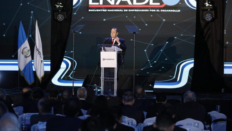 Alejandro Giammattei, presidente electo, habla en Enade 2019. (Foto Prensa Libre: Esbin García)