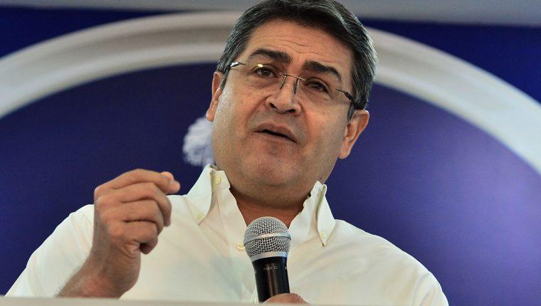 Juan Orlando Hernández, presidente de Honduras, rechaza las acusaciones de la fiscalía de Nueva York. (Foto Prensa Libre: AFP)