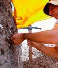 Un arqueólogo israelí trabaja en el sitio de excavación. (Foto Prensa Libre: AFP)