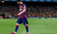Barcelona's Argentine forward Lionel Messi looks downwards as he leaves the pitch during the Spanish league football match between FC Barcelona and Sevilla FC at the Camp Nou stadium in Barcelona on October 6, 2019. (Photo by Josep LAGO / AFP)