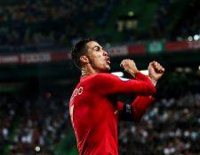 Cristiano Ronaldo festejó así su anotación este viernes. (Foto Prensa Libre: AFP)