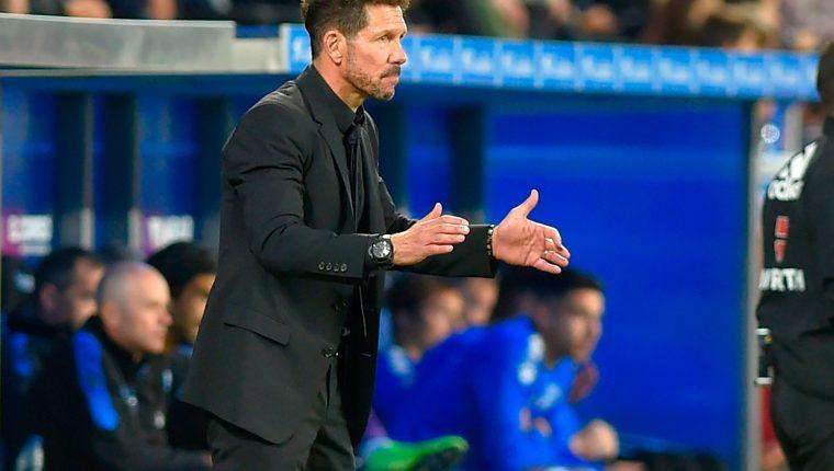 Diego 'el Cholo' Simeone, técnico del Atlético de Madrid. (Foto Prensa Libre: AFP)