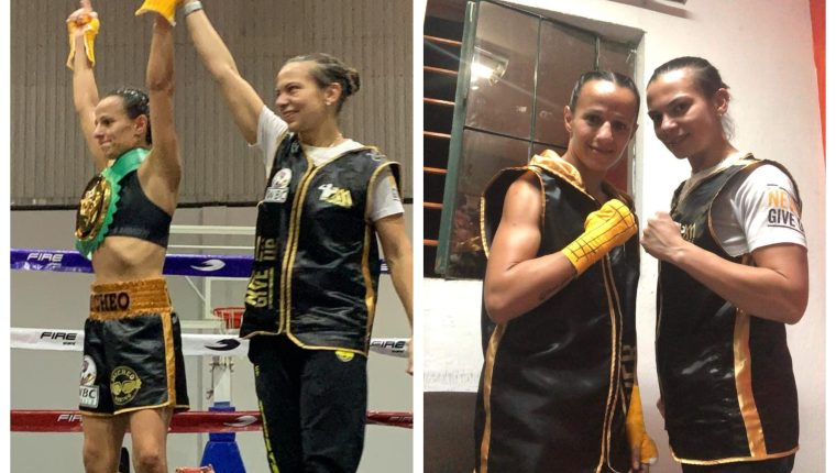 María Micheo volvió a celebrar sobre el ring. (Foto Prensa Libre: Cortesía María Micheo)