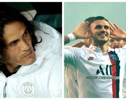 Edinson Cavani y Mauro Icardi, jugadores del París Saint-Germain. (Foto Prensa Libre: AFP)