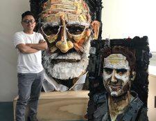 El artista plástico Carlos Vásquez fue el creador de esta obra. Foto Prensa Libre: Norvin Mendoza