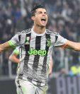 Cristiano Ronaldo celebra eufórico el gol del triunfo para la Juventus. (Foto Prensa Libre: EFE)