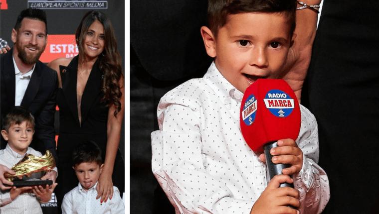 Mateo Messi jugó a entrevistar a su papá durante la entrega de la Bota de Oro. (Foto Prensa Libre: Tomada de Marca)