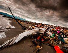 En la desembocadura del río Motagua se acumulan toneladas de basura. (Foto Prensa Libre: Cortesía Sergio Izquierdo)