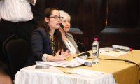 Julia Chacon, esposa de Diego Chacon vinculado al caso Odebrecht habla a los diputados que forman parte de la comisi—n anticicig de como fue afectada por la CICIG.  Noe Medina 07102019