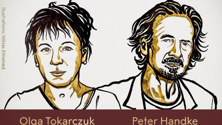 La escritora polaca Olga Tokarczuk y su colega austríaco Peter Handke son los ganadores del Nobel de Literatura 2018 y 2019. (Foto Prensa Libre: Premio Nobel)