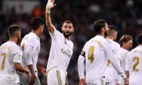 Real Madrid's French forward Karim Benzema celebrates after scoring a goal during the Spanish league football match between Real Madrid CF and Club Deportivo Leganes SAD at the Santiago Bernabeu stadium in Madrid on October 30, 2019. (Photo by OSCAR DEL POZO / AFP)