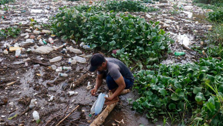 Toneladas de desechos se han acumulado desde agosto del 2018 en el río Ocosito han impactado en la reserva del Manchón Guamuchal y la comunidad Tres Cruces. (Foto Prensa Libre: Rolando Miranda)