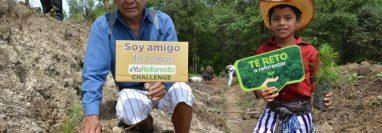 Niños y adultos participaron en las jornadas de reforestación  llevadas a cabo en montañas del occidente. (Foto Prensa Libre. Walter Albillo, Inab)
