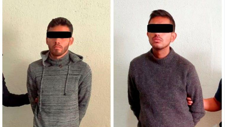 Edwin Alvarado Castillo y Gustavo Adolfo García Cano fueron detenidos en Huehuetenango sindicados del crimen de una madre y su hija. (Foto Prensa Libre: Mike Castillo)