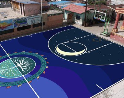Dibujos pintados sobre la cancha están inspirados en el juego de pelota maya. (Foto Prensa Libre: Guatemala Housing Alliance)