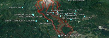 La Coordinadora para la Reducción de Desastres (Conred) advierte de los riesgos para 15 comunidades asentadas en el Volcán Santiaguito. (Foto Prensa Libre: Eddy Maldonado)