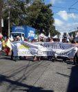 Caminata sobre la primera avenidas de mazatenango, culminará en Gobernación Depatarmental. (Foto Prensa Libre: Marvin Israel)