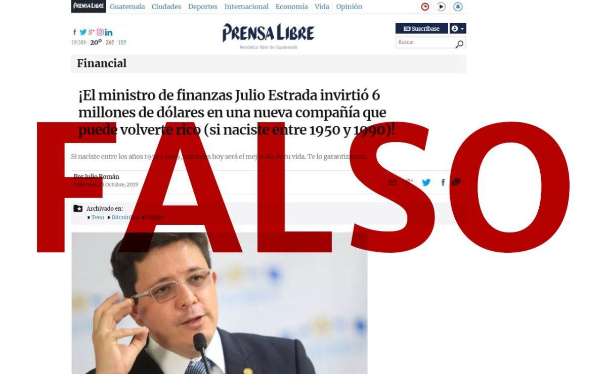 Noticia falsa que simula ser de Prensa Libre podría tratarse de un fraude