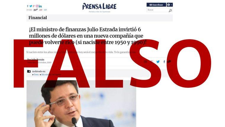 Una página de internet divulga esta noticia falsa a título de Prensa Libre. (Foto Prensa Libre: captura de pantalla)