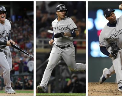 Giovanny Urshela, Gleyber Torres y Aroldis Chapman, son de los beisbolistas determinantes para los Yanquis: (Foto Prensa Libre: AFP y EFE)