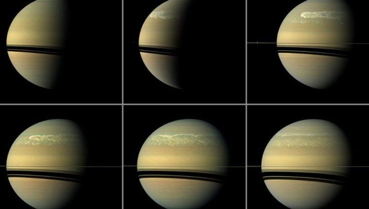 Las cuatro tormentas gigantescas de Saturno que perturbaron a todo el planeta