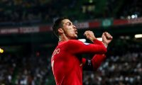 Portugal's forward Cristiano Ronaldo celebrates after scoring a goal during the Euro 2020 qualifier group B football match between Portugal and Luxembourg at the Jose Alvalade stadium in Lisbon on October 11, 2019. (Photo by CARLOS COSTA / AFP)