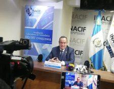 El presidente electo Alejandro Giammattei en conferencia de prensa. (Foto Prensa Libre: Andrea Orozco)