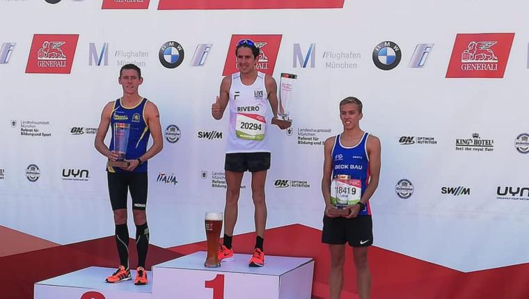 El fondista guatemalteco  Luis Carlos Rivero se impuso con autoridad en el medio maratón de Múnich. (Foto Prensa Libre: Luis Carlos Rivero)