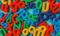 Colorful alphabet letters on a table