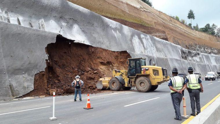 El derrumbe ocurrido el 7 de octubre. (Foto Prensa Libre: Víctor Chamalé).