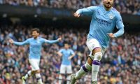 Manchester City's German midfielder Ilkay Gundogan (R) runs to celebrate after scoring their third goal during the English Premier League football match between Manchester City and Aston Villa at the Etihad Stadium in Manchester, north west England, on October 26, 2019. (Photo by Paul ELLIS / AFP) / RESTRICTED TO EDITORIAL USE. No use with unauthorized audio, video, data, fixture lists, club/league logos or 'live' services. Online in-match use limited to 120 images. An additional 40 images may be used in extra time. No video emulation. Social media in-match use limited to 120 images. An additional 40 images may be used in extra time. No use in betting publications, games or single club/league/player publications. /