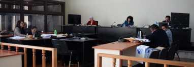 La jueza Jazmín Barrios del Tribunal de Mayor Riesgo A escuchó la declaración del colaborador eficaz. (Foto Prensa Libre: Claudia Martínez)