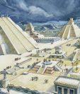 Hernán Cortés describió Tenochtitlan como una urbe palaciega. Esta ilustración, del año 1900 aprox., muestra la plaza central y el Templo Mayor en el siglo XVI. DEA PICTURE LIBRARY/DE AGOSTINI VIA GETTY IMAGES