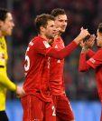 Los jugadores del Bayern volvieron a celebrar. (Foto Prensa Libre: EFE)