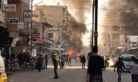 Damascus (Syrian Arab Republic), 11/11/2019.- A handout photo made available by the official Syrian Arab News Agency (SANA) shows the site that was rocked by three car bomb's blasts, in Damascus, Syria, 11 November 2019. According to media reports, seven civilians were killed and 70 others were injured when three car bombs went off almost simultaneously in al-Wehda Street in the center of Qamishli city in north Syria. The blasts caused damage to public and private properties including shops and cars. (Atentado, Siria, Damasco) EFE/EPA/SANA HANDOUT HANDOUT EDITORIAL USE ONLY/NO SALES