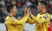 St. Petersburg (Russian Federation), 16/11/2019.- Eden Hazard (L) and Thorgan Hazard (R) of Belgium celebrates after scoring during the UEFA Euro 2020 Group I qualifying soccer match between Russia and Belgium at the Gazprom Arena in St. Petersburg, Russia, 16 November 2019. (Bélgica, Rusia, San Petersburgo) EFE/EPA/ANATOLY MALTSEV