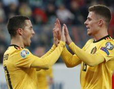 Eden Hazard  y Thorgan Hazard fueron figuras de Belgica contra  Rusia. (Foto Prensa Libre: EFE).